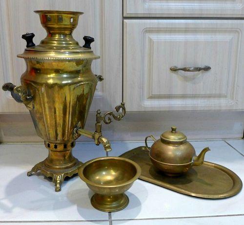 Antique Bronze Imperial Tzar Russian Samovar Set - Circa 1825