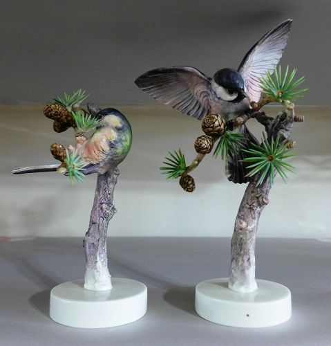 Royal Worcester Dorothy Doughty Birds - Chickadees & Larch, 1938
