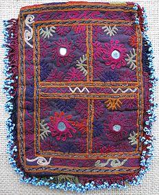 A Pashtun nomad beaded purse, mid 20th century