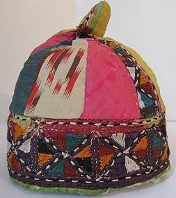 An ikat embroidered cap from northern Afghanistan