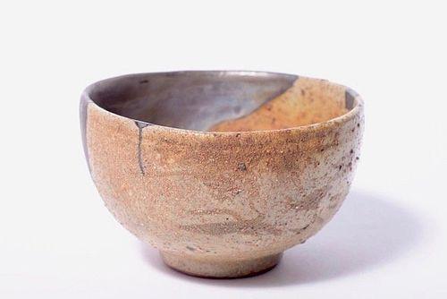 Kihara-gama Ko-garatsu Tea Bowl w/ Silver Repair