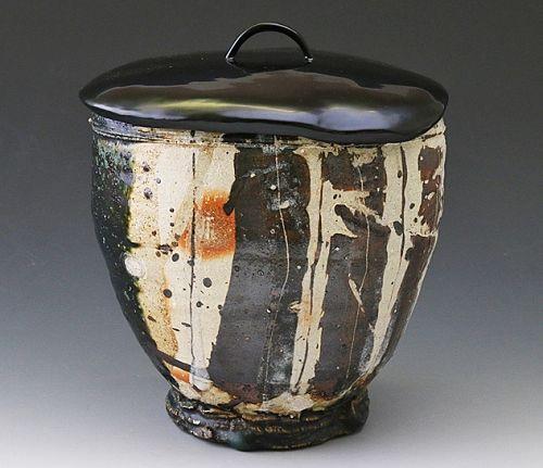 A Modern Oribe Mizusashi by Nakashima Katsunori