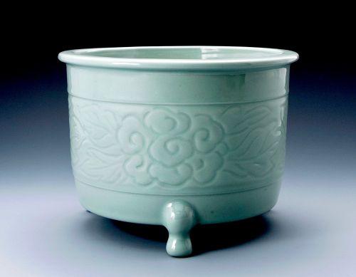 Imperial Court Artist Celadon Brazier for Tea Ceremony
