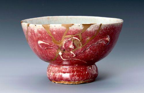 Cinnabar Glazed Tea Bowl w/ Gold Repair by Master Potter-Kawai Kanjiro