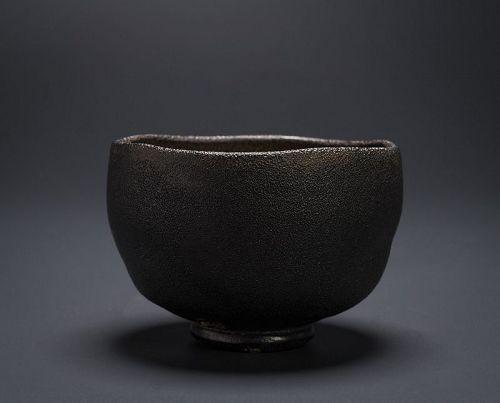 A Black Raku Tea Bowl by Samukawa Seiho