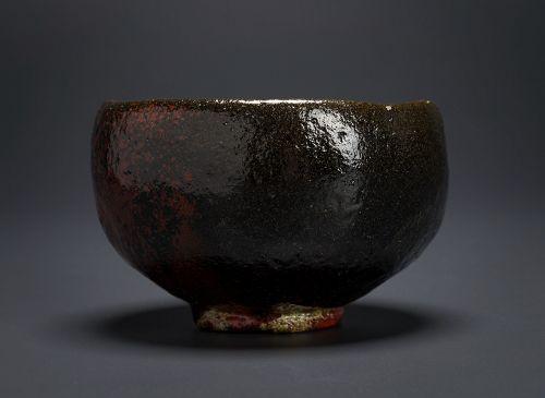 A Black Raku Tea Bowl by Fumiaki Kaihatsu