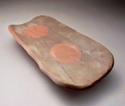 A Large Bizen Plate by Living National Treasure Isezaki Jun
