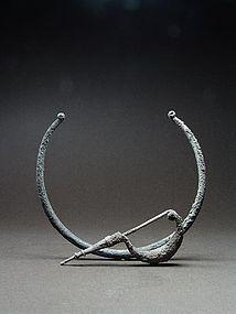 Etruscan silver torque and fibula, ca. 6th-4th Century