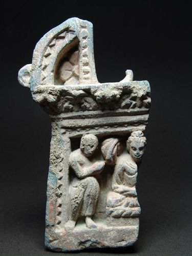 Gandhara Arch Shaped Panel with Buddha and Attendant