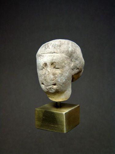 Egyptian Limestone Head, Ptolemaic Period, 332-30 BC