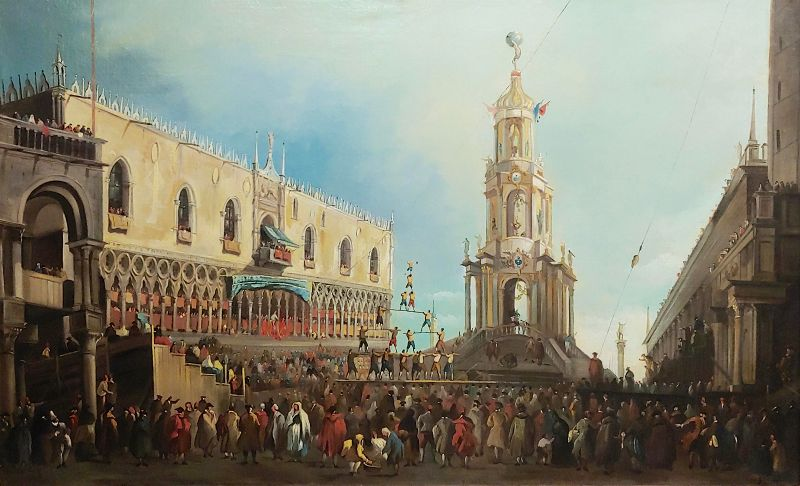 18th Century Antique Canaletto School-Doge Palace Festival in Venice Oil Painting