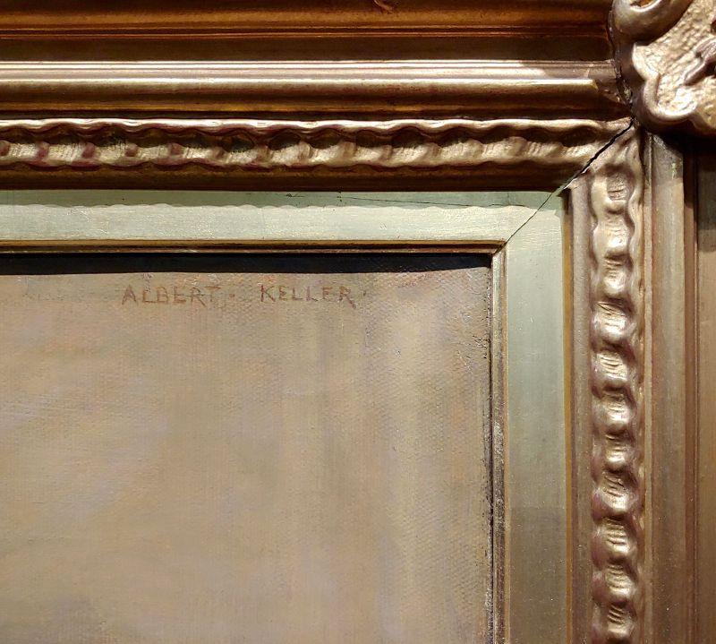 Albert Von Keller -Nude Female Looking Into the Mirror -Oil Painting