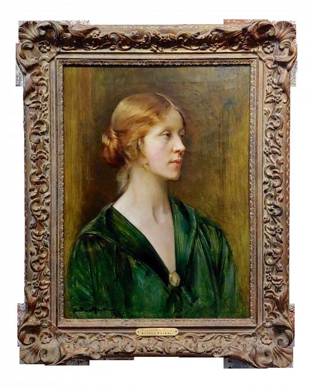 Arthur Hacker 1918 Portrait of a Young Lady - Impressionist Oil Painting