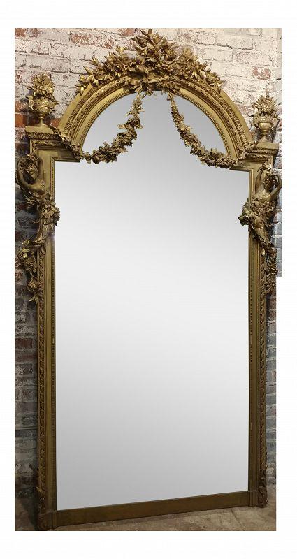 19th Century Louis XVI Carved Gilt Mirror