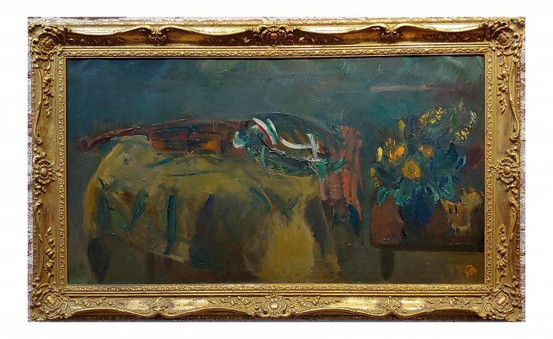 Aurel Bernath 1930s Still Life With a Stradivari Violin -Oil Painting