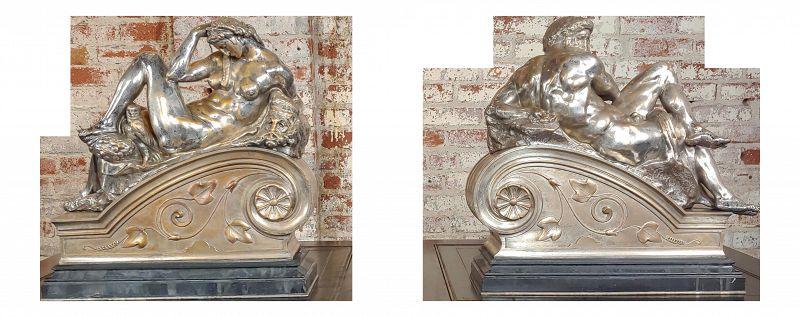 Michelangelo Day & Night - Stunning 19th Century Bronze Sculptures - a Pair