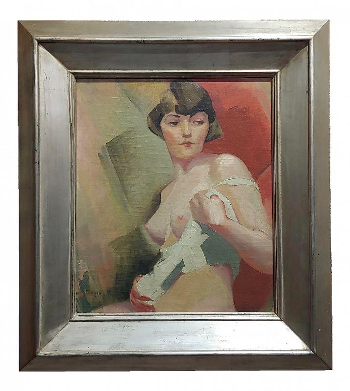1927 Art Deco Nude Female Portrait Oil Painting by Reva Jackman
