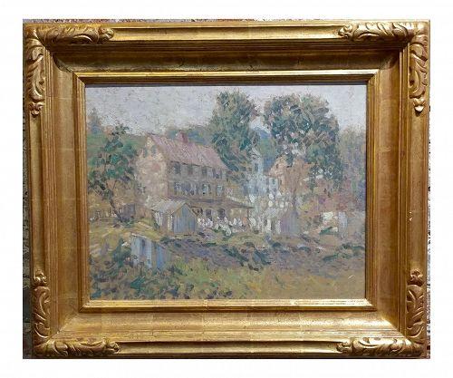 Edwin Roscoe Shrader -Rural Farmhouse - Beautiful Oil Painting -California Pointillism