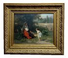 """19th Century Dutch """"Flowers for the Baby"""" Oil Painting by Karel Frans Philippeau"""