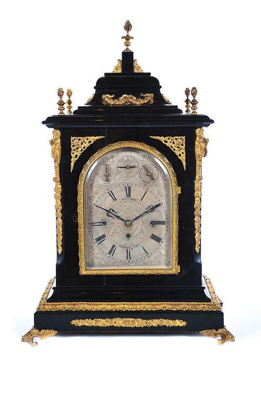 19th C. Reid & Sons Triple Fusee Ebony & Gilt Mantel Clock