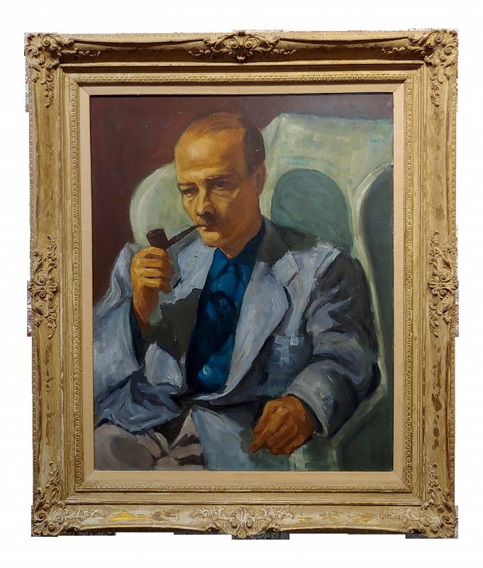 Edward G. Robinson 1950s Portrait of Actor Robert Keith -American Regionalism Oil Painting
