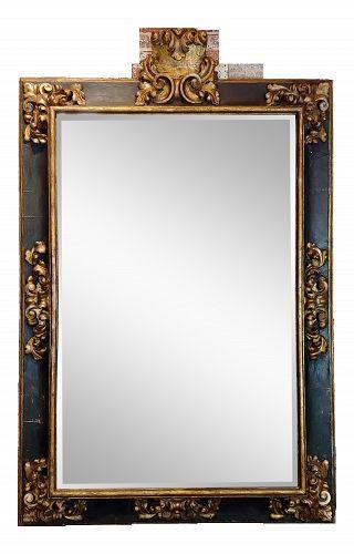 18th Century Antique Florentine Gilt & Ebonized Frame Mirror