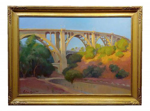 Arthur Bjorn Egeli -The Pasadena Suicide Bridge on Colorado Blvd- Impressionist Oil Painting