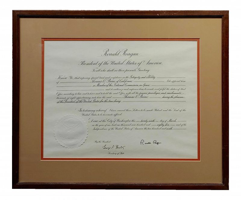 Vintage Ronald Reagan Signed Presidential Appointment to Thomas Paine for Space Commission