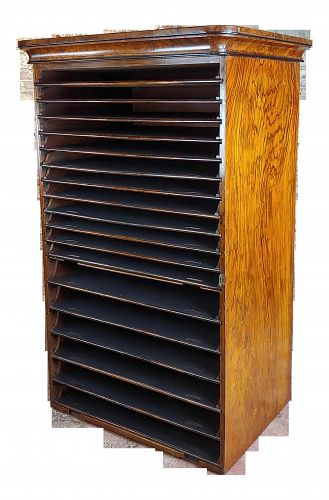19th Century English Antique Archival Portfolios & Maps Rack Shelf
