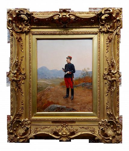 Etienne Berne-Bellecoeur 1906 French Officer Taking an Observation -Oil Painting
