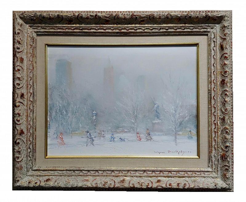 1970s Vintage White Winter in Central Park Oil Painting by Johann Berthelsen