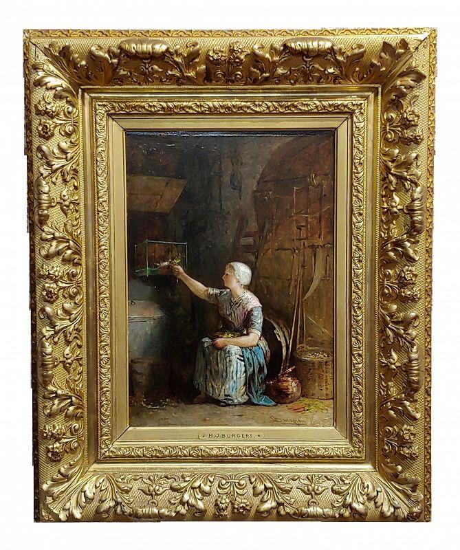 Jacobus Burgers 19th Century Dutch Girl Feeding Her Birds - Oil Painting