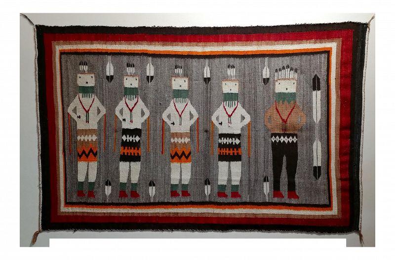 "Navajo Vintage Yei Be Chei Pictorial Rug - 3' X 5"""