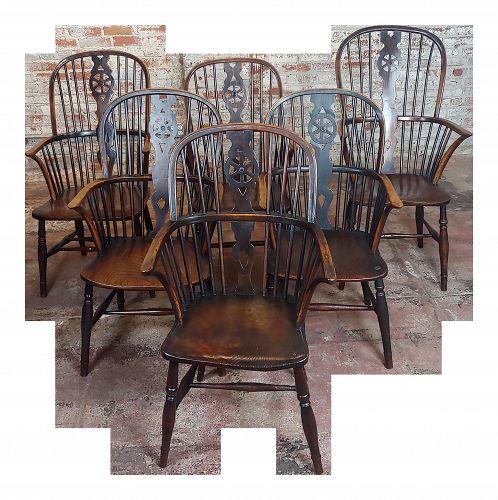 18th Century George III Windsor Chairs - Set of 6