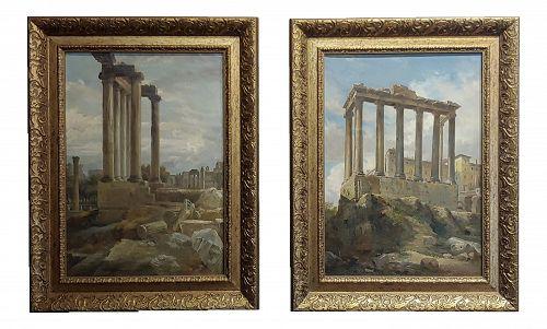 Wilhelm Kendler -Roman Ruins-19th Century Capriccios Oil Paintings - A Pair