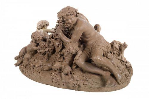 Bacchus & Satyrs Drinking Wine Terra Cotta Sculpture