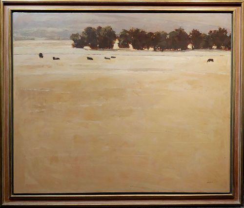 Andrew Skorut Impressionist Pasture Landscape - Oil Painting on Canvas