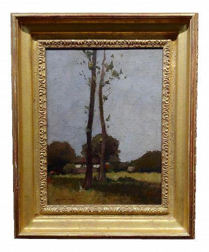 Impressionist William J. Kaula -New Hampshire Cottage Landscape Oil Painting
