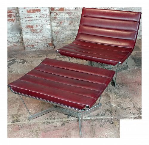 Herman Miller, George Nelson, Red Leather Catenary Chair & Ottoman