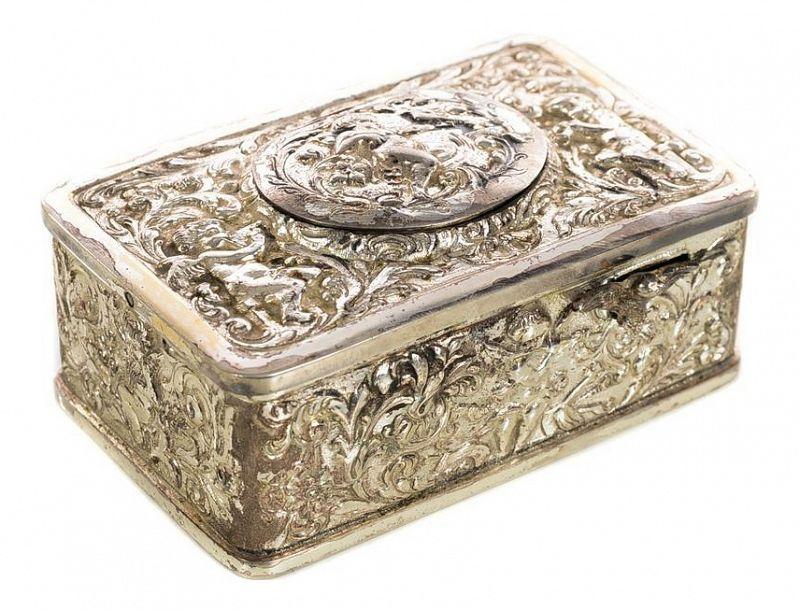 Singing Bird Antique Silver Filigree Music Box, 1900s