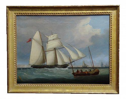 "1840s ""Royal Navy Sail Ship Approaching Portsmouth"" Oil Painting by John Lynn"