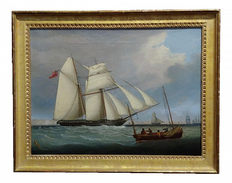 "1840s ""Royal Navy Sail Ship Approaching Portsmouth"" Oil Painting by John Lynn"
