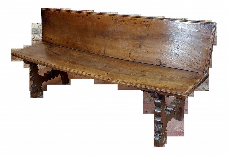 17th Century Spanish Baroque Walnut & Wrought Iron Bench