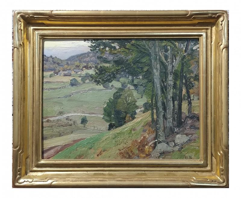 George Symons 1920s View Down to the Farm - Oil Painting