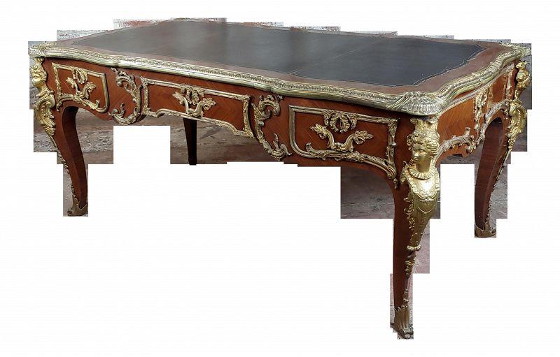 French Louis XV Gilt Bronze Kingwood Bureau Plat Writing Desk
