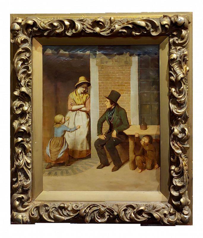 19th Century English School -Flirting Around Kids - Oil Painting-C1860s