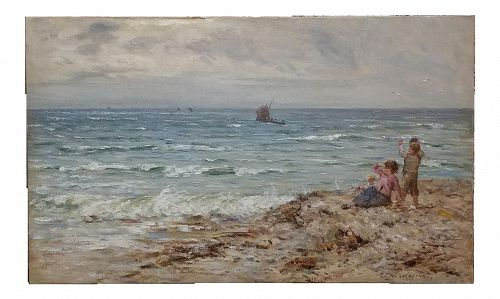 "19th Century Scottish ""Children by the Beach"" Oil Painting by John Henderson"