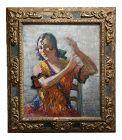 """1933 J. Barry Greene """"Gipsy Flamenco Dancer"""" Oil Painting"""