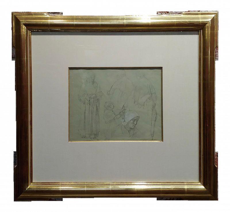 Leon Augustin Lhermitte -3 Women & a Child - Original Pencil Drawing -C1880s