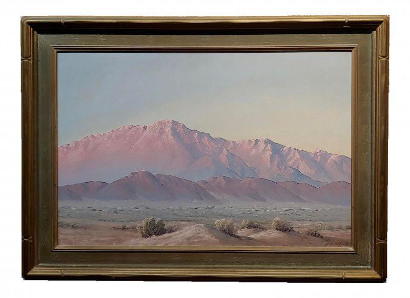John Hilton -Magic Desert Sundown - California Impressionist Oil Painting